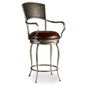 Zinfandal Brown Metal and Leather Barstool