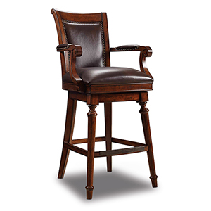 Merlot Brown Leather Barstool