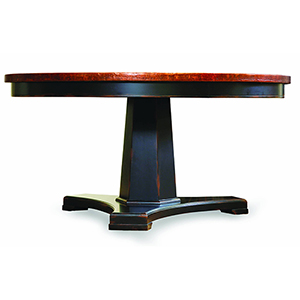 Sanctuary 60-Inch Round Pedestal Dining Table - Ebony and Copper