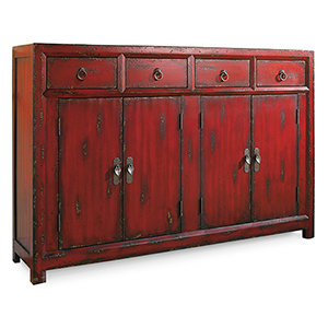 58-Inch Red Asian Cabinet