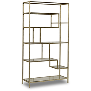 Iron with Glass Etagere in Silver