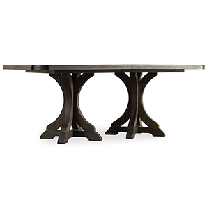 Corsica Dark Rectangle Pedestal Dining Table with Two 20-Inch Leaves
