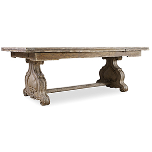 Chatelet Refectory Rectangle Trestle Dining Table with Two 22-Inch Leaves
