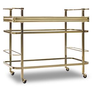 Gold Plated Metal Bar Cart