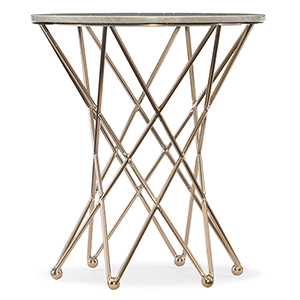 Highland Park Round End Table with Marble Top