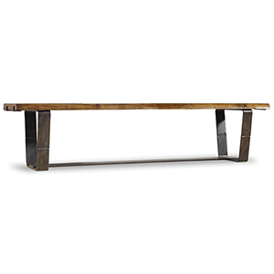 Live Acacia and Rustic Steel Edge Bench