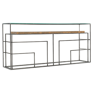 Brown Wood and Glass Sofa Table