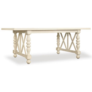 Sandcastle 80 Inch Rectangle Dining Table with 2- 18 Inch Leaves in Cream