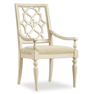 Sandcastle Fretback Arm Chair - Upholstered Seat in Cream