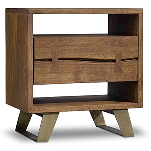 Transcend Acacia and Metal Nightstand