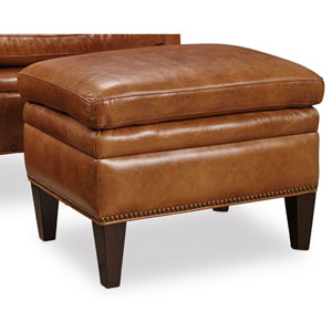 Jilian Brown Leather Ottoman