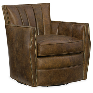 Carson Brown Castle Leather Swivel Club Chair