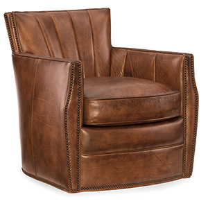 Carson Brown Rook Leather Swivel Club Chair