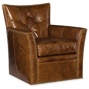 Conner Brown Leather Swivel Club Chair