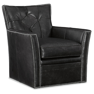 Conner Black Leather Swivel Club Chair