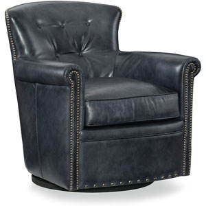Jacob Gray Leather Swivel Club Chair