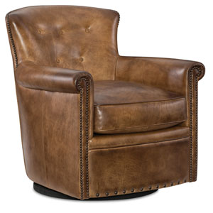 Jacob Brown Leather Swivel Club Chair