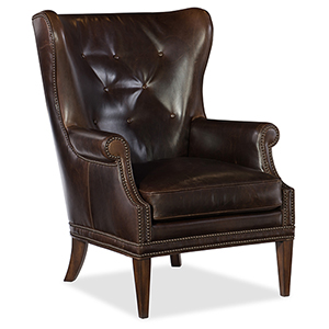 Maya Wing Brown Leather Club Chair