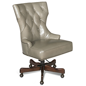 Primm Gray Leather Desk Chair