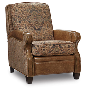 Brandy Brown Fabric and Leather Recliner