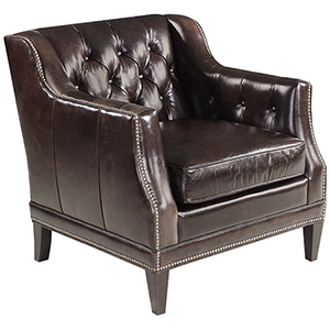 Austin Brown Leather Stationary Chair