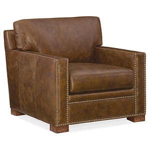 Jax Brown Leather Stationary Chair