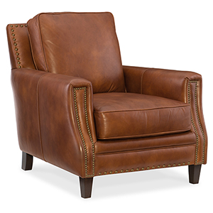 Exton Brown Leather Stationary Chair