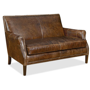 Leith Brown Leather Settee