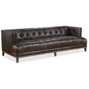 Citizen Brown Leather Stationary Sofa