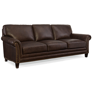 Marriott Brown Leather Stationary Sofa