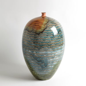 Studio A Home Multicolor Watercolor Ringed Vessel