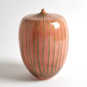 Studio A Home Brown and Pink Large Striped Melon Vase