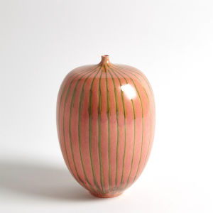 Studio A Home Brown and Pink Small Striped Melon Vase