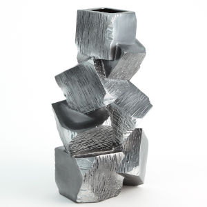 Silver and Black 12-Inch Faux Pyrite Vase