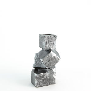 Silver and Black 9-Inch Faux Pyrite Vase