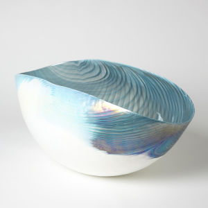 Ivory and Turquoise 16-Inch Feather Swirl Oval Bowl