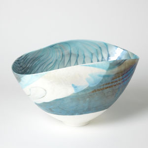Ivory and Turquoise 12-Inch Feather Swirl Oval Bowl