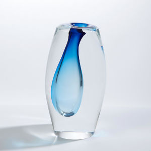 Offset Light Blue Five-Inch Small Vase