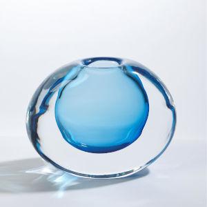 Offset Light Blue Six-Inch Round Vase