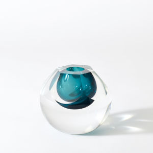 Studio A Home Azure Hexagon Cut Glass Vase