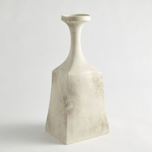 Matte Cream 6-Inch Rhombus Marble Vase