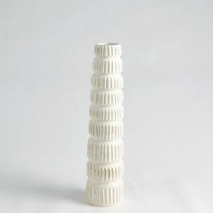 Antique White 20-Inch Totem Vase