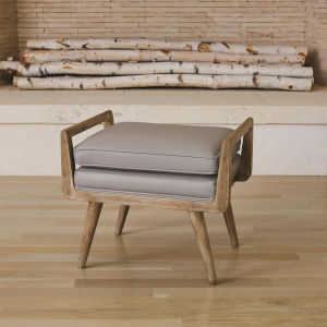Lucas Grey Leather 18-Inch Short Bench