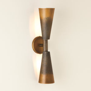 Ombre Bronze And Gold Two-Light Trumpet Wall Sconce