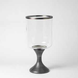 Graphite and Pewter 11-Inch Small Candle Holder