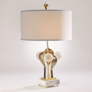 Eden Brass and Antique Gold Two-Light Table Lamp