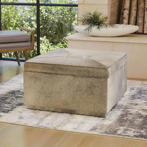 Metro Brushed Nickel 30-Inch Square Storage Ottoman