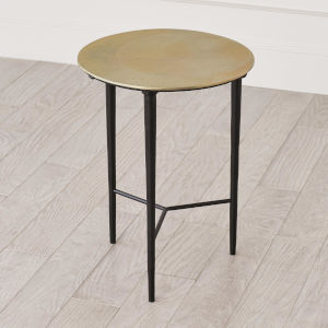 Antique Brass 16-Inch Circle Etched Accent Table