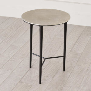 Antique Nickel 16-Inch Circle Etched Accent Table