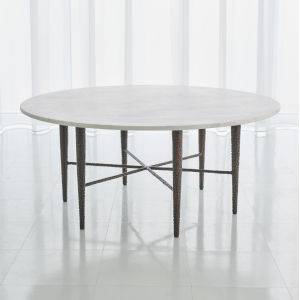 Hammered Antique Brass 44-Inch Cocktail Table